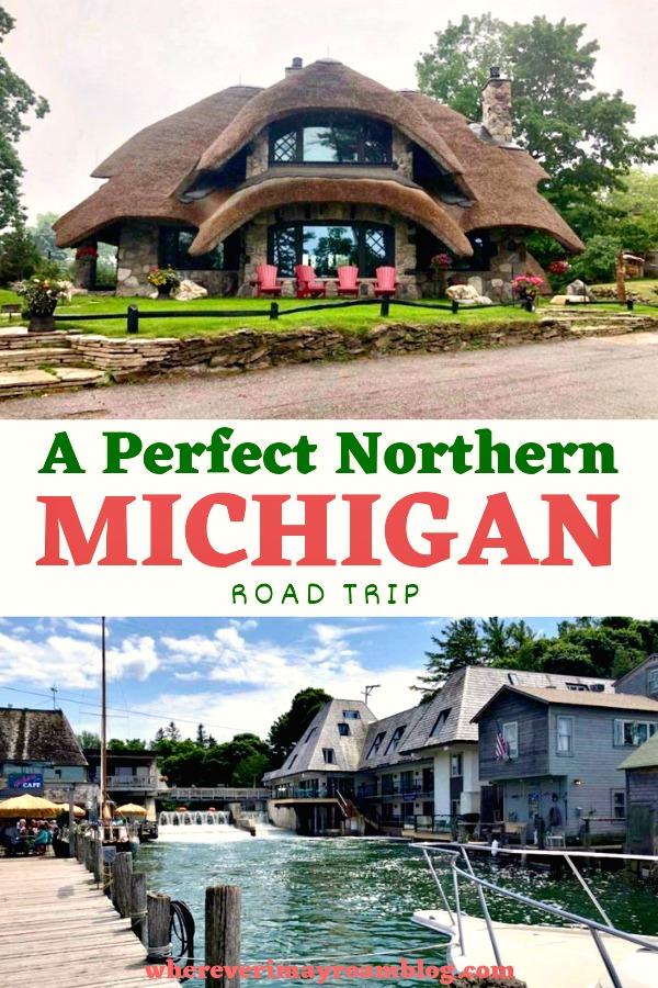 northern Michigan road trip pin