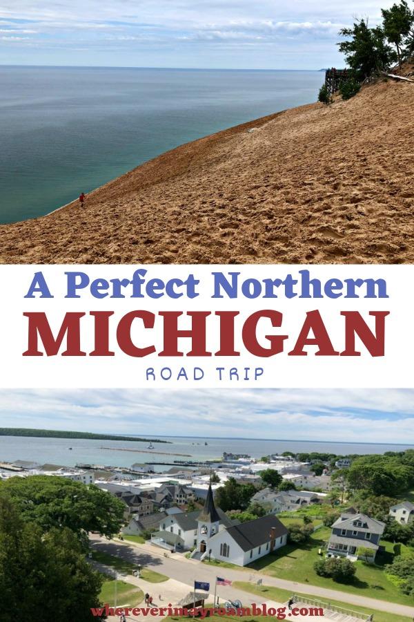 perfect northern Michigan road trip pin