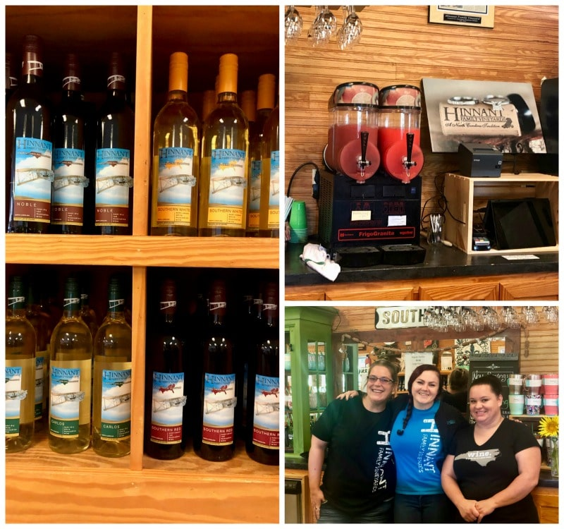 hinnant winery bottles and wine slushies