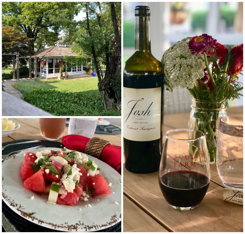 dinner and wine in the screened porch tusculum farms