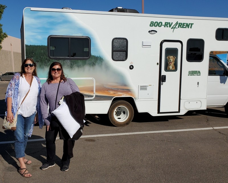 Sara and I finishing up cruise america rv trip arizona