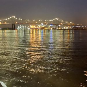 night view of Mississippi River at Baton Rouge
