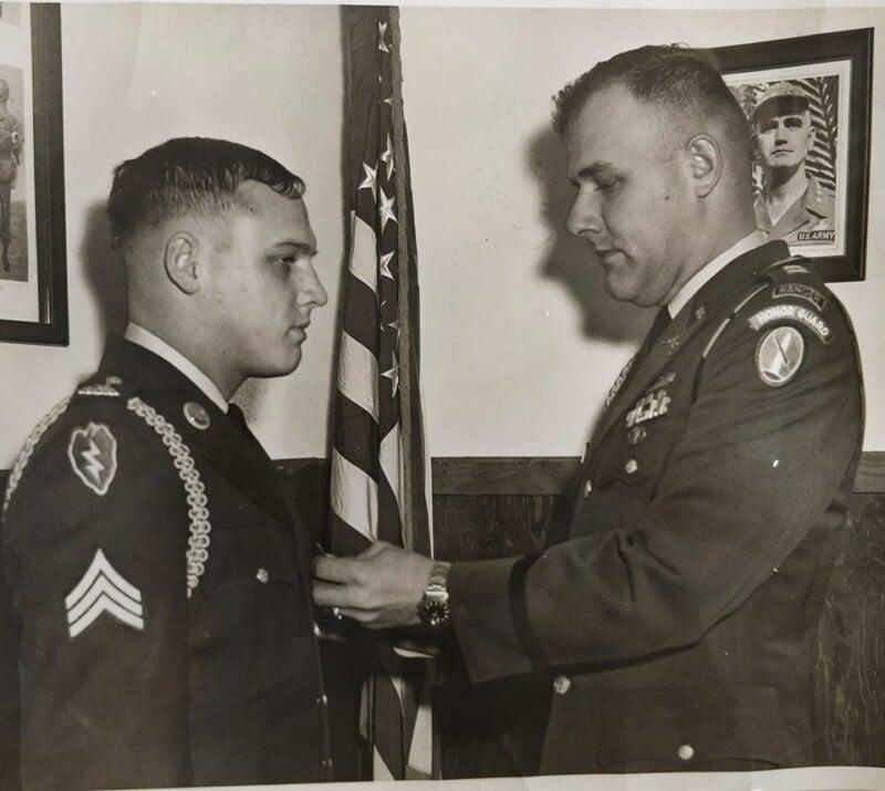 Alan Nichols receiving purple heart after Vietnam war