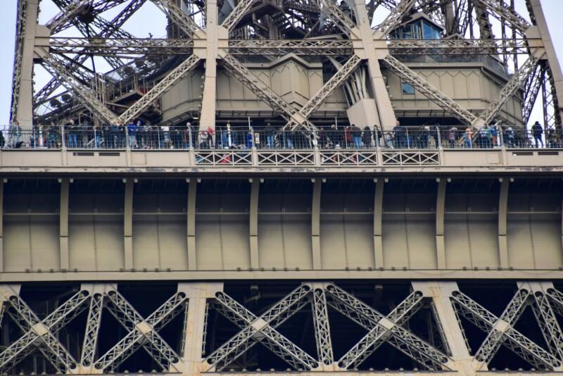 people inside the Eiffel Tower