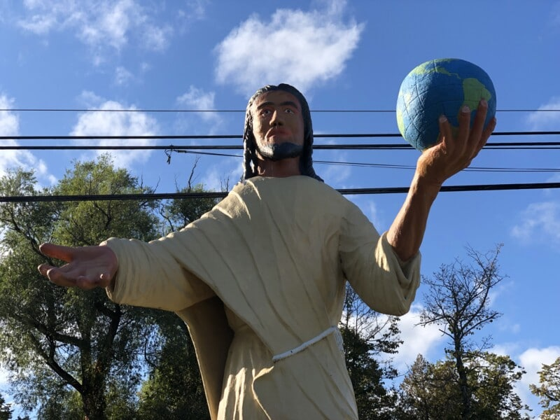 Jesus outside of dinosaur gardens in michigan