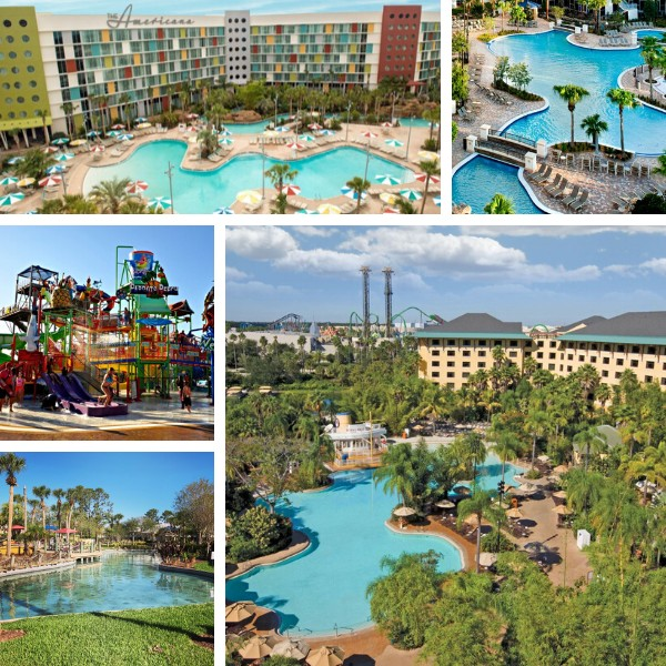 aerial Orlando hotel views and pools