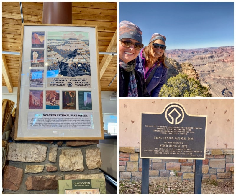 Grand Canyon unesco sign and park posters