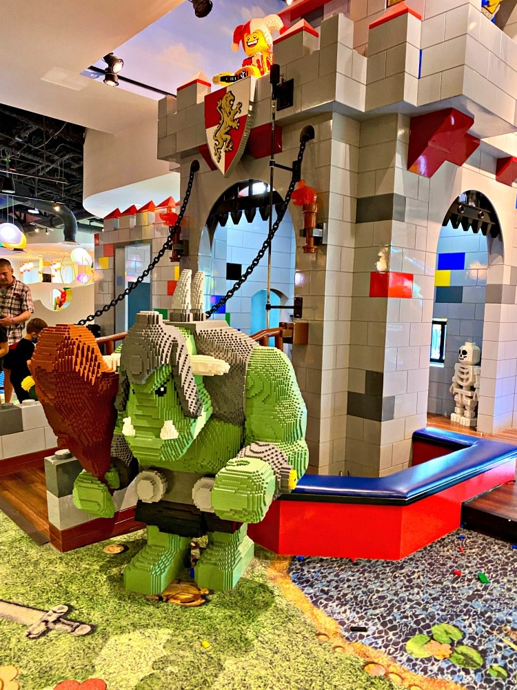castle play area in lobby at LEGOLAND hotel
