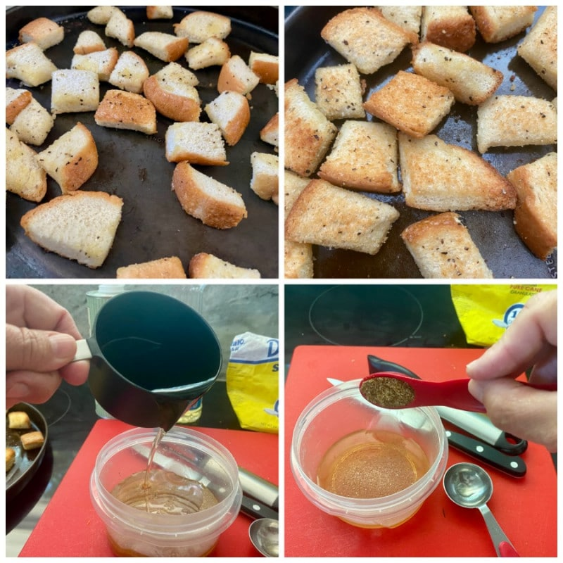 homemade croutons and dressing