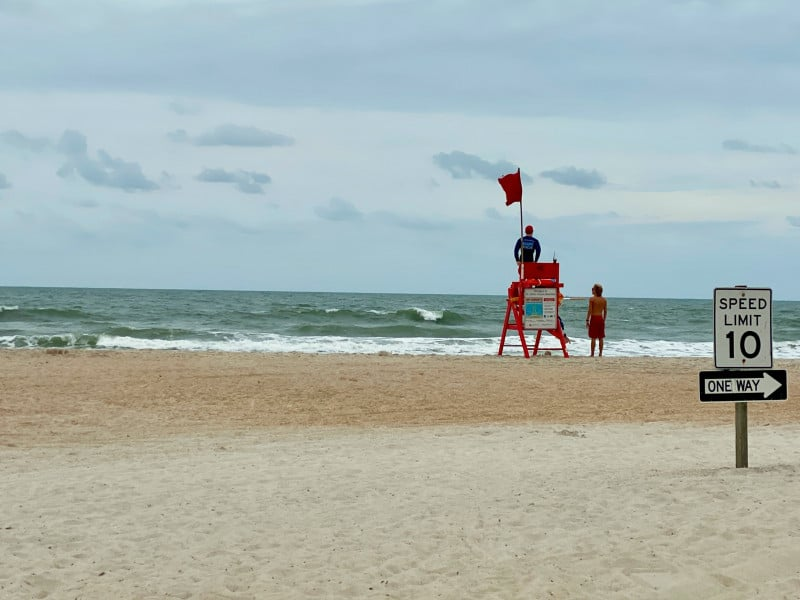 st augustine beach and lifeguard stand