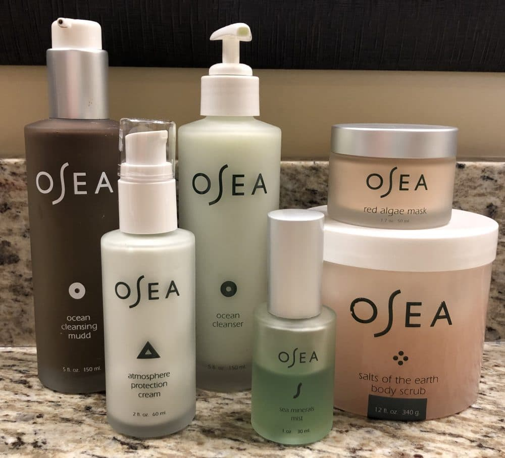 OSEA face products on counter