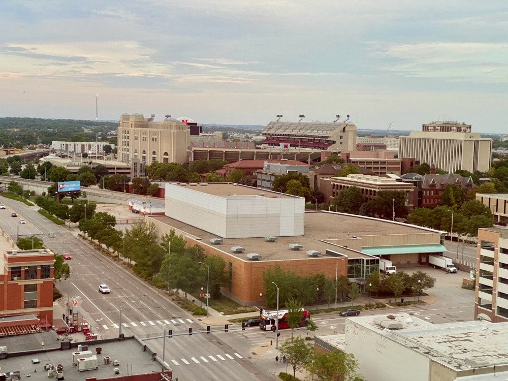 aerial view of downtown lincoln and campus stadium
