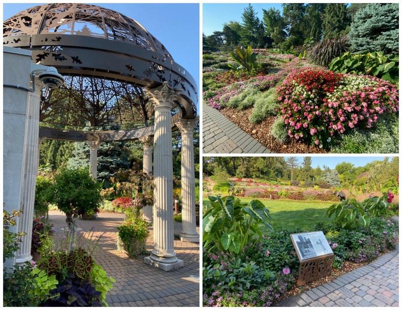 gazebo and flower beds at sunken gardens