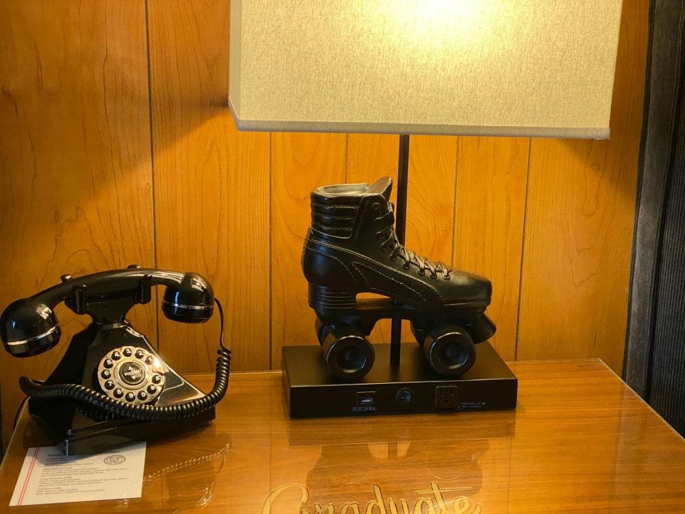 graduate hotel roller skate lamp