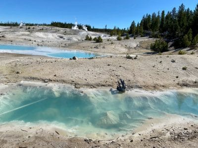 blue waters at norris geyser basin