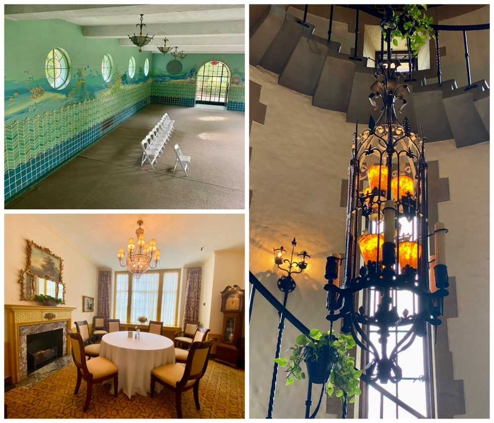 dining room pool and curved staircase at graylyn