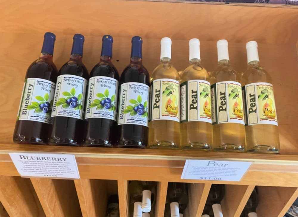 forks of cheat blueberry and pear wines