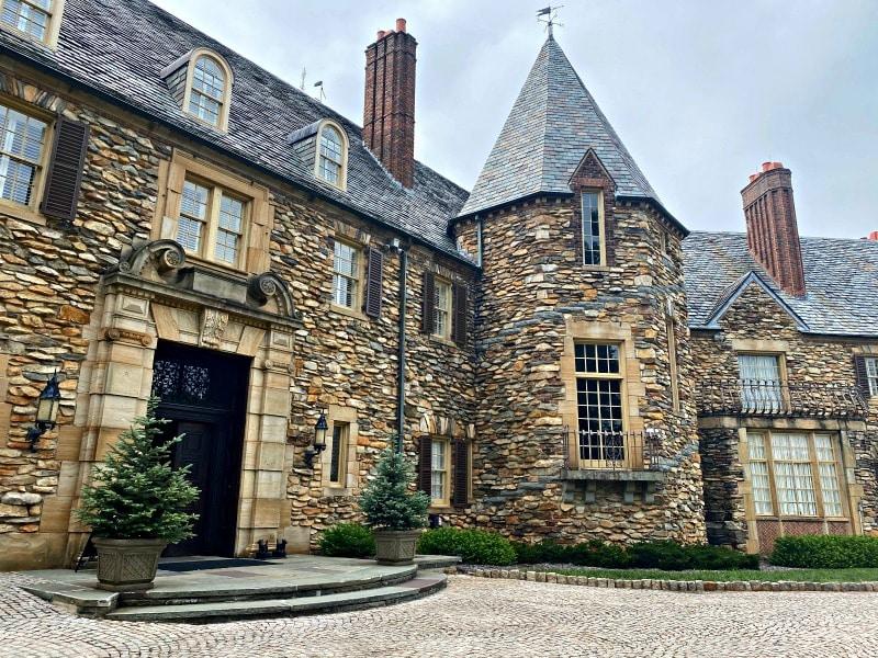 intricate stone masonry at graylyn estate
