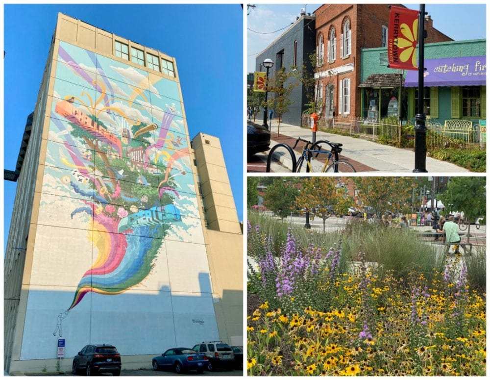 downtown and kerrytown ann arbor buildings and mural