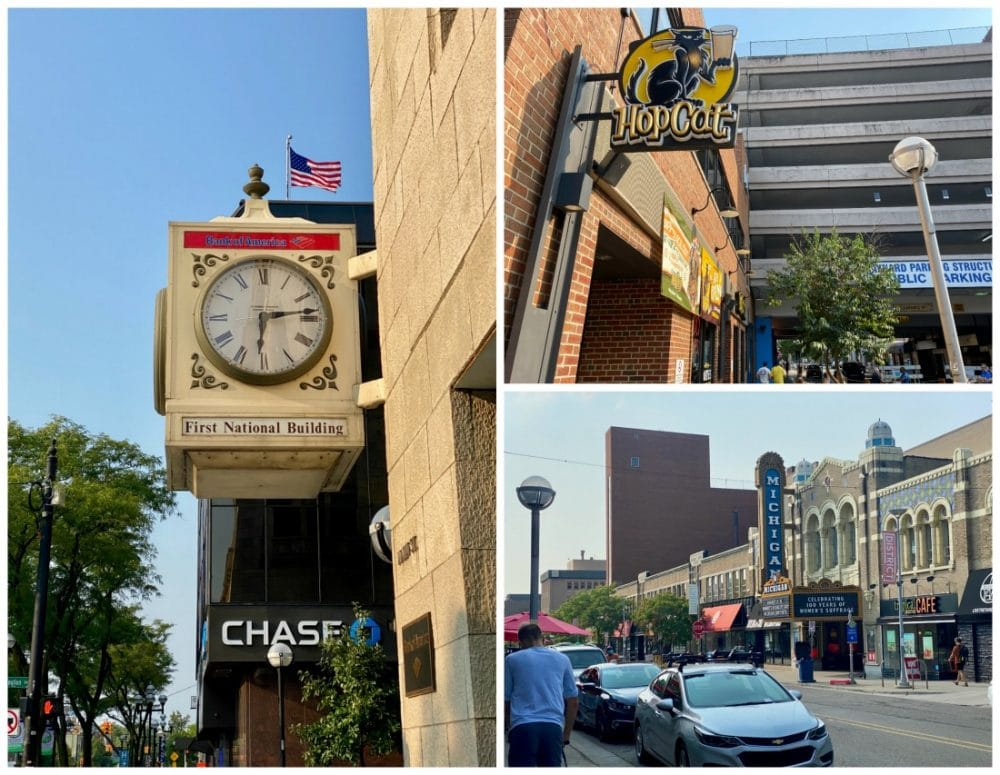 downtown ann arbor michigan clock and theater