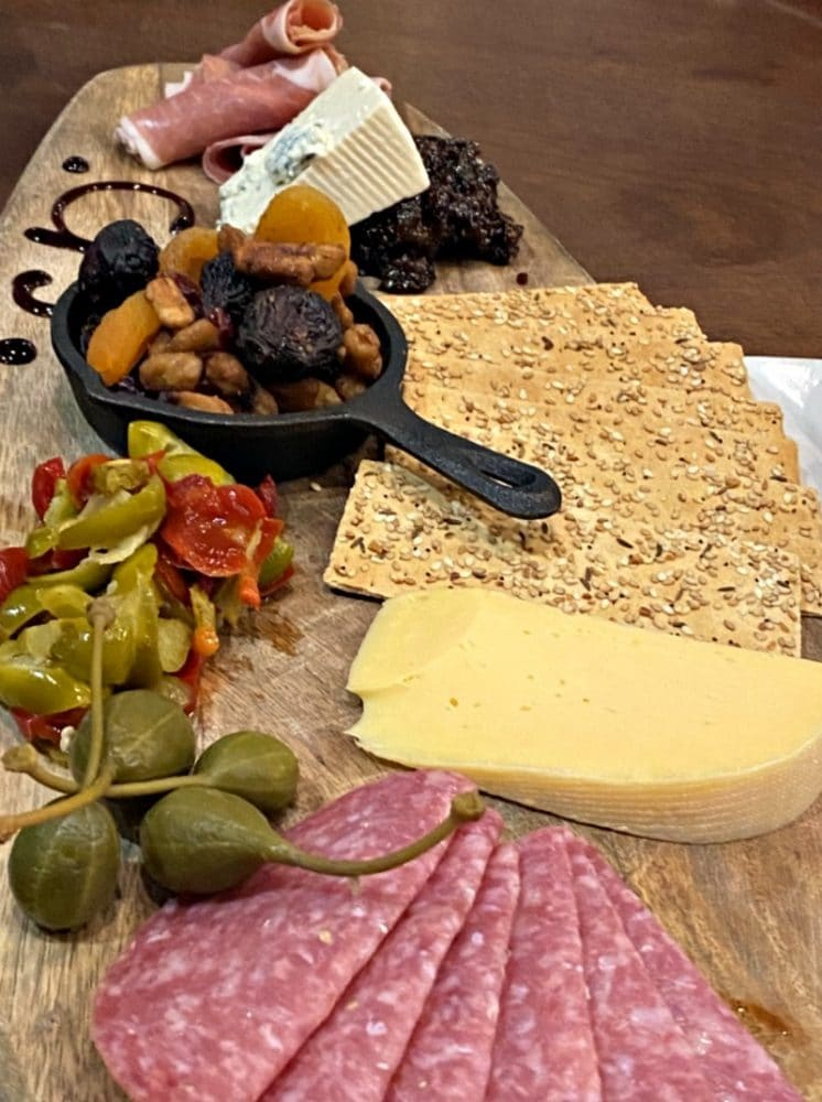 charcuterie platter with caper berries
