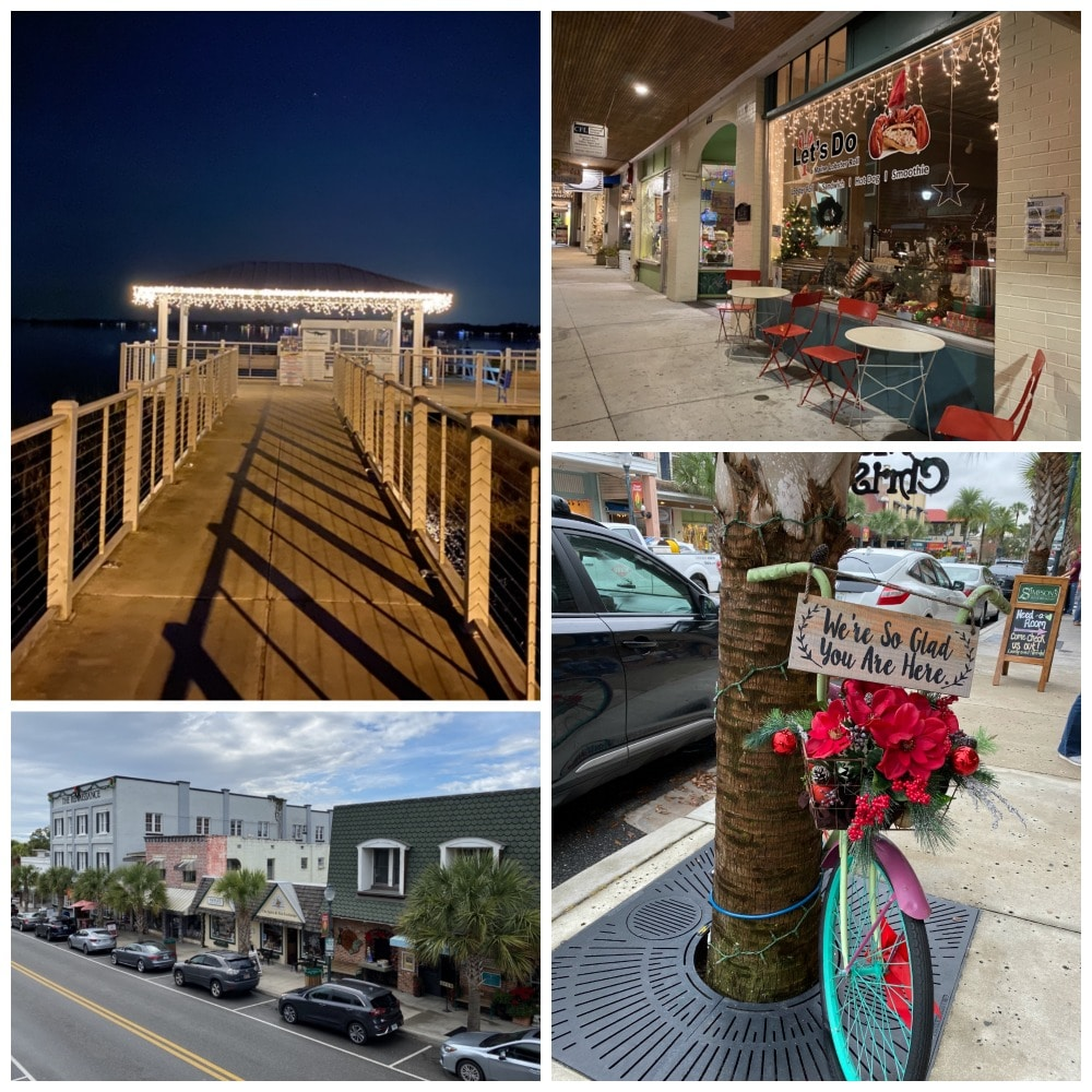 downtown mount dora shops and boat dock