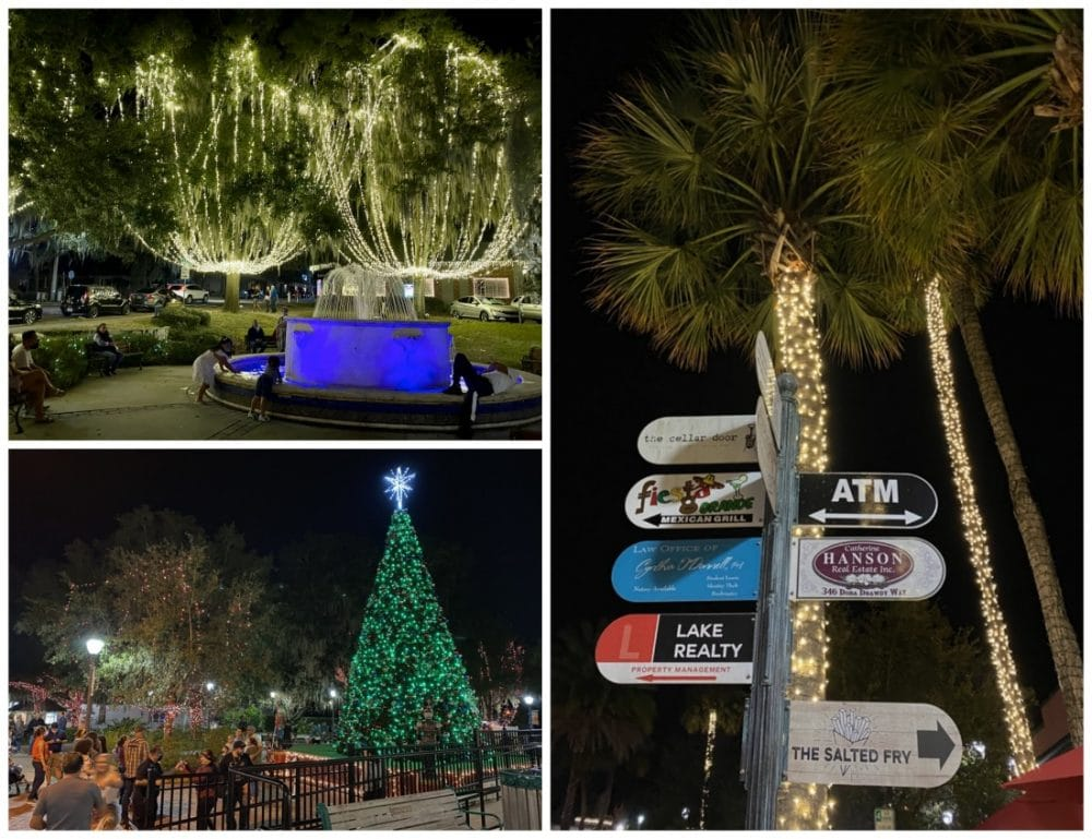holiday lights in downtown mount dora
