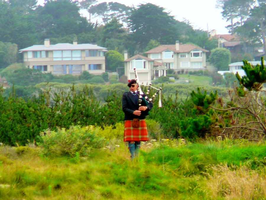bagpipe player in pebble beach