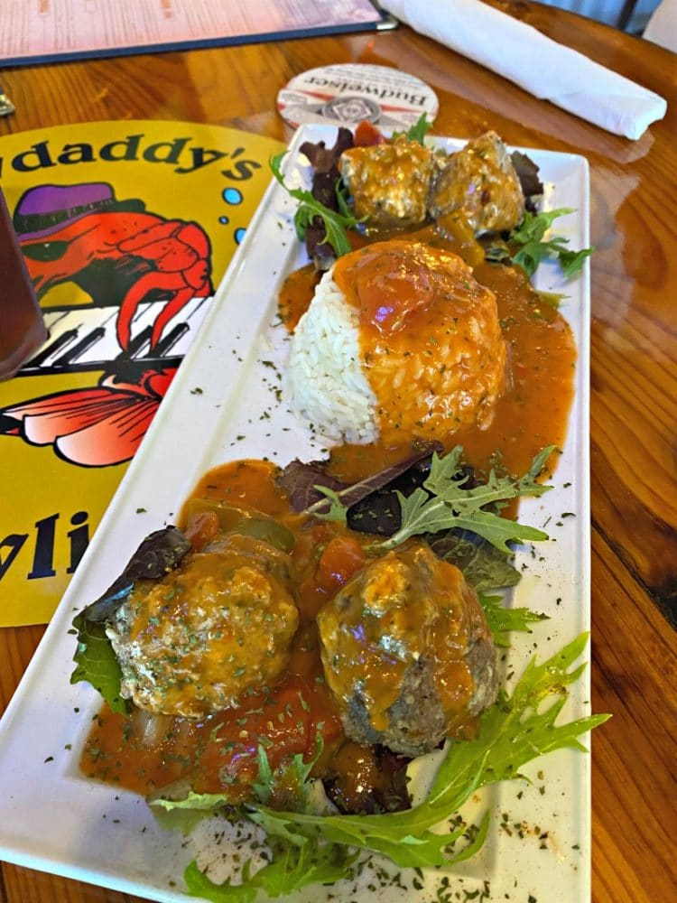 cheesy meatballs from crawdaddys