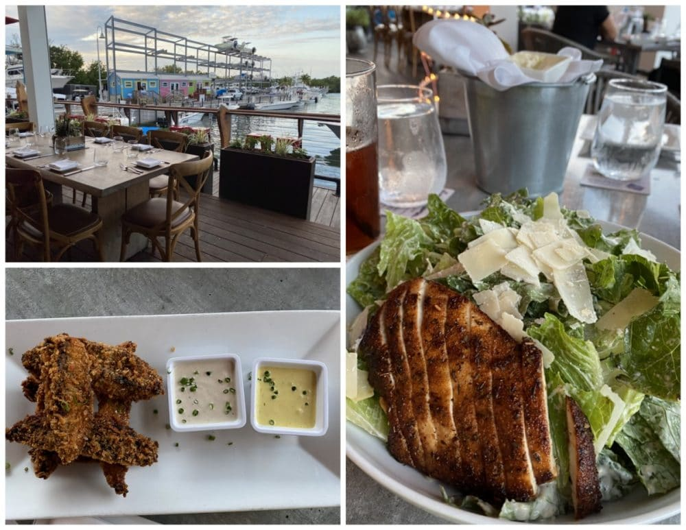 square grouper patio, caesar salad, and portobello fries