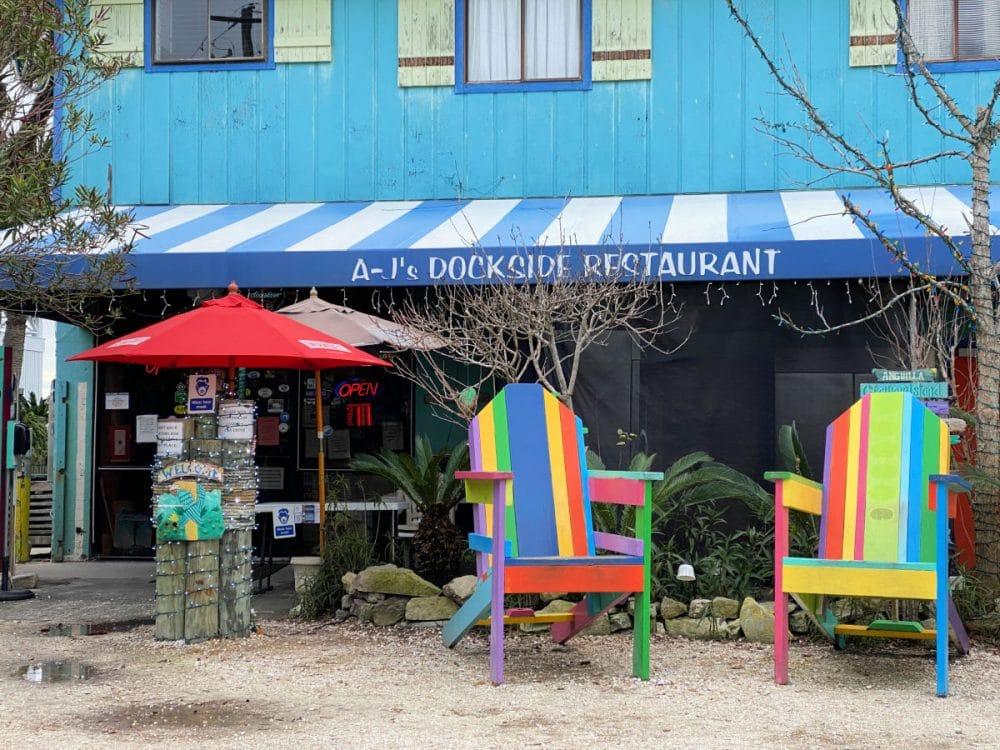 aj's dockside Tybee Island colorful beach chairs