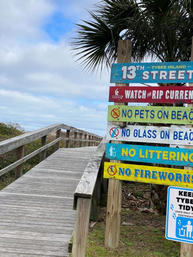 directional signs at Tybee Island