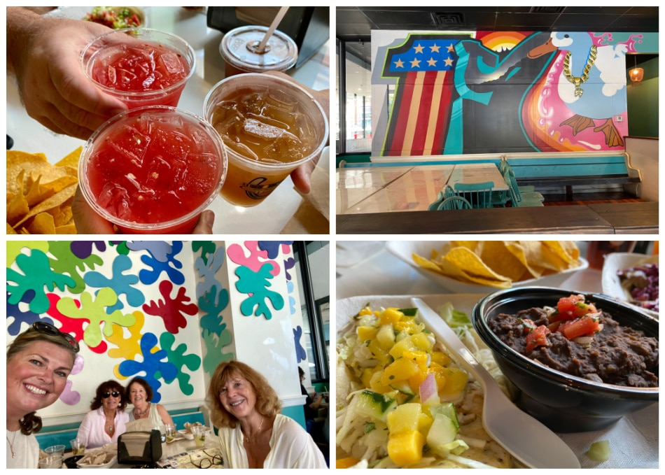 white duck taco shop mural and sangria