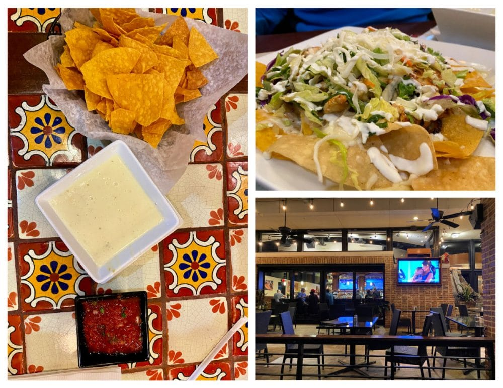 peppers cocina chicken nachos and queso with chips