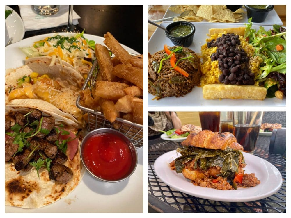 tacos sandwiches and latin meat with rice and beans in DeLand