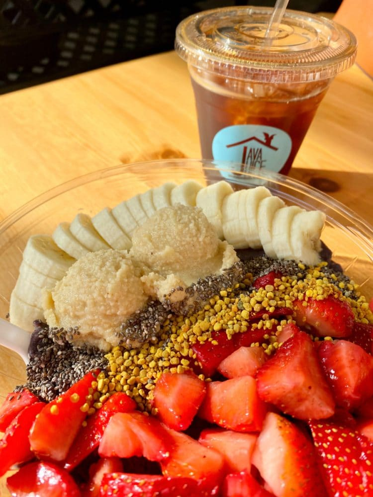 acai bowl with bananas and strawberries