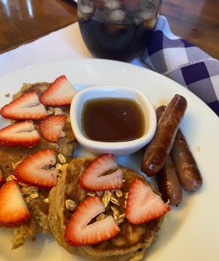 banana oat pancakes and sausage