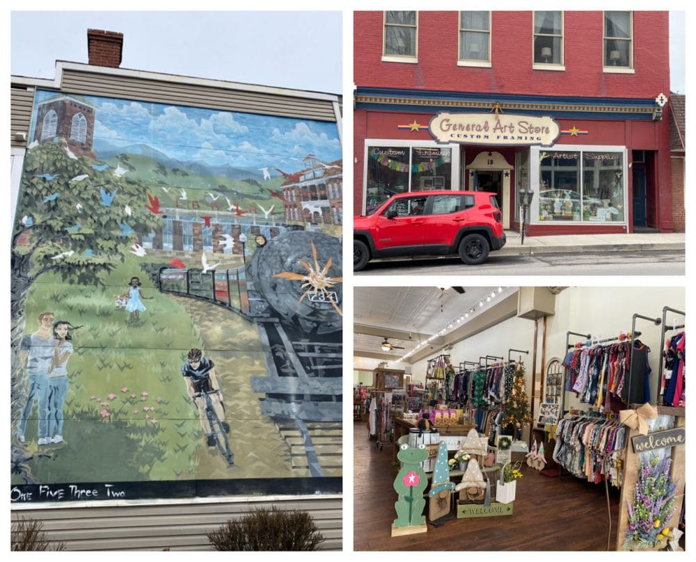 cute mural and local boutique in Frostburg