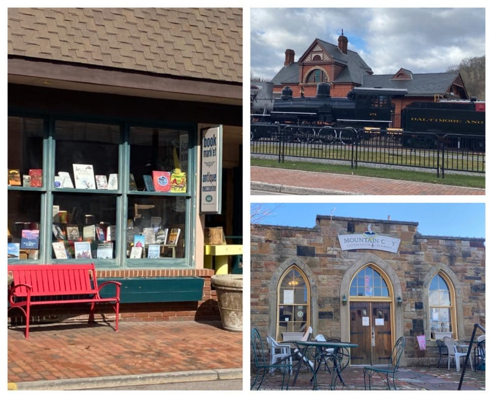 downtown shops including coffee and books Frostburg