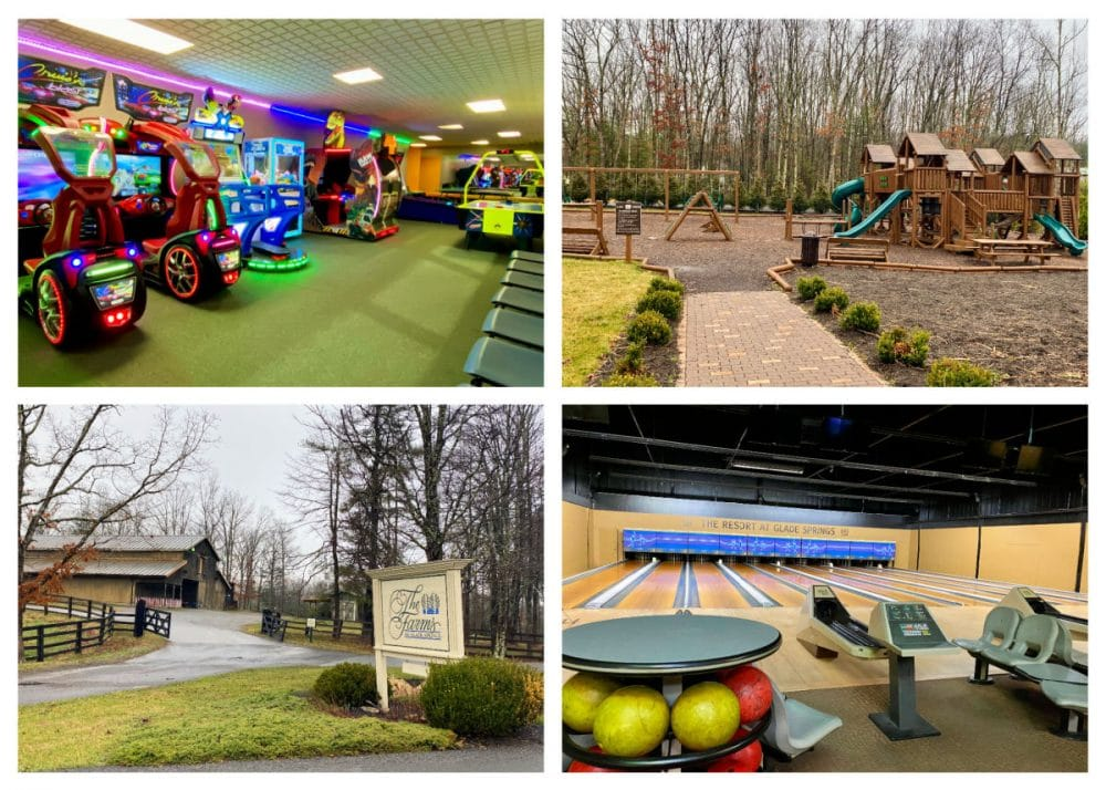 game room bowling alley and playground from resort at glade springs