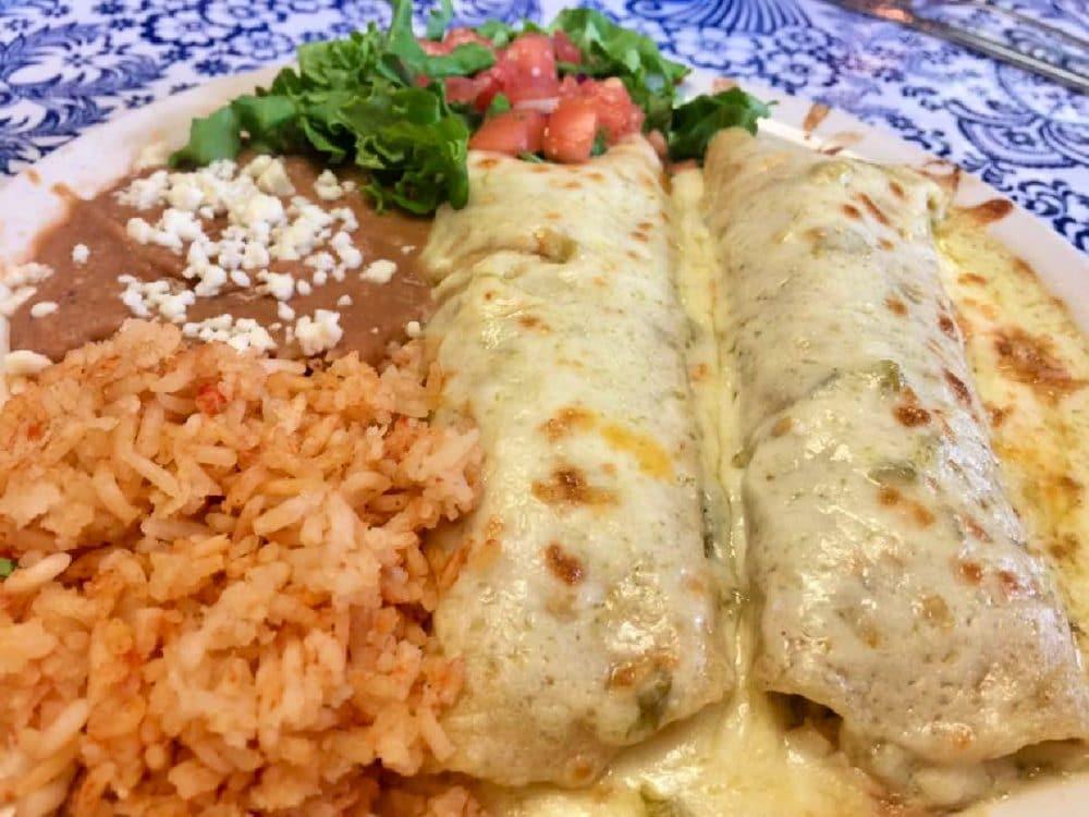 mi cocina de amor enchiladas with rice and beans