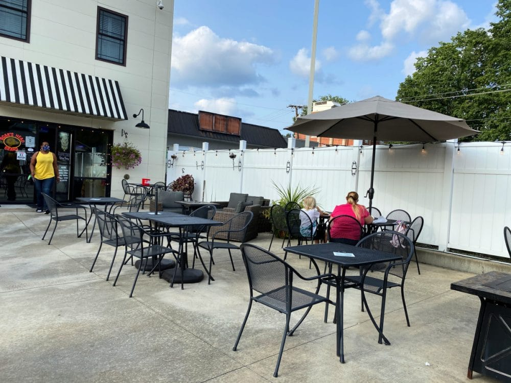 patio seating at olive tree south charleston