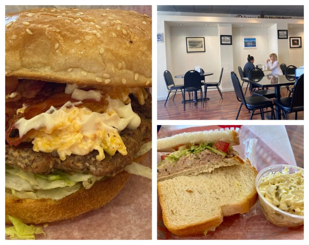 pimento cheese burger and tuna salad from wheelhouse