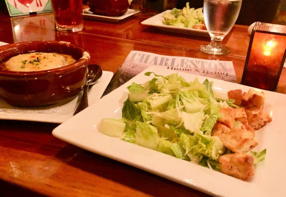 south hills bistro French onion soup and Caesar salad