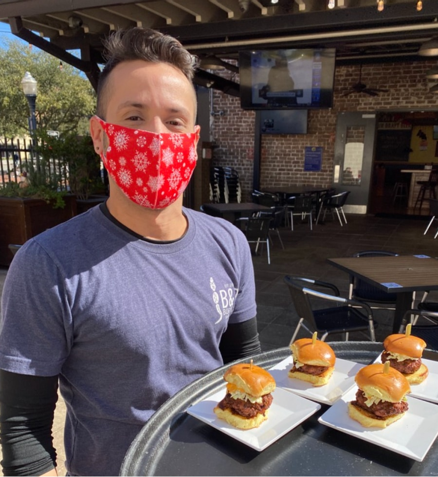 b-and-d-burgers-waiter-with-tray-of-sliders